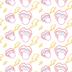 seamless pattern mouth tongue out rock and roll retro vector illustration