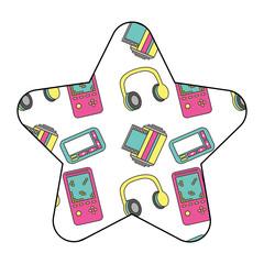 pattern shape star with vintage video game headphones vector illustration