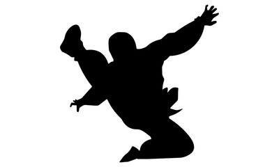 silhouette of martial arts kicking