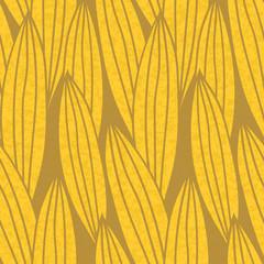 Текстурированный бесшовный узор в тёплых тонах с изображением стилизованных удлиненных жёлтых листьев с коричневыми полосками на коричневом фоне.