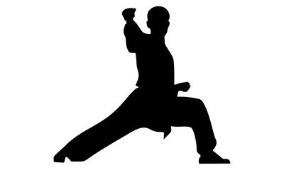 silhouette of karate hit with right hand
