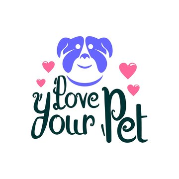 love your pet day logo. sticker. poster. vector. editable