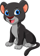 Cute black panther sitting cartoon isolated on white background