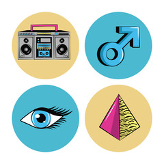 90s forever rounds icons icon vector illustration graphic