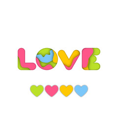 Colorful art Paper craft of Love word for valentine graphic design idea concept