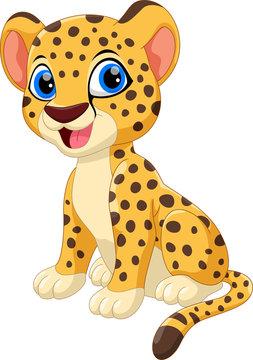 Cute cheetah cartoon isolated on white background