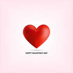 Realistic red heart 3d on pink background for romantic valentine day