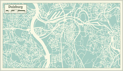 Duisburg Germany City Map in Retro Style. Outline Map.