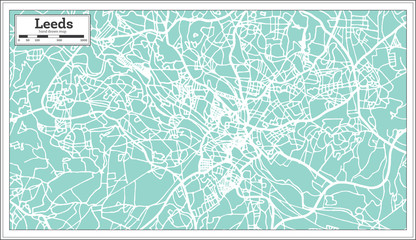 Leeds England City Map in Retro Style. Outline Map.