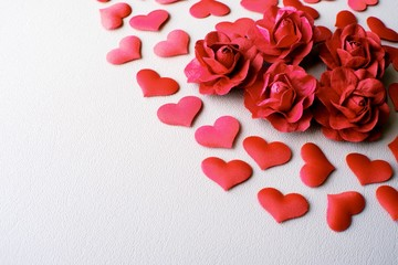 Love Valentines day romantic background. hearts and roses beautiful.