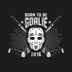 Hockey authentic retro emblem with goalkeeper mask and crossed sticks on a black background