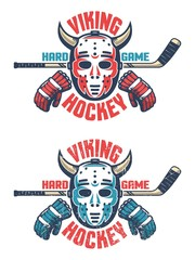 Oldschool hockey emblem -  retro goalie mask with horns, stick, gloves and an inscription Viking Hockey. Two color schemes. Worn texture on separate layer can be disabled.