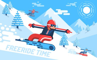 Snowboarder descends on slope of the mountain among fir trees. Freeride -