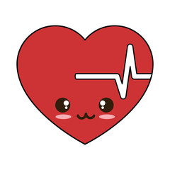 heart cardio kawaii character vector illustration design