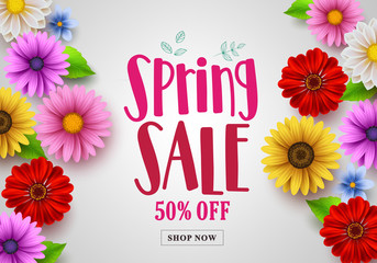 Spring sale vector banner design with template background of various colorful flowers like daisy, sunflower and other elements for spring season discount promotion. Vector illustration.