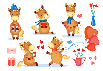 Lovers horses vector set kid cartoon animal pose, domestic cute foal isolated on white, farmer animals, Character design for greeting card, children invitation, creation of alphabet, valentines day