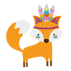 colorful cute fox animal with feathers design
