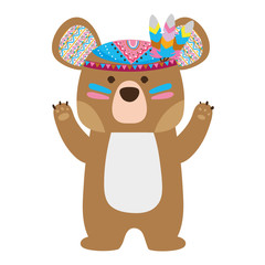 colorful cute bear animal with feathers design