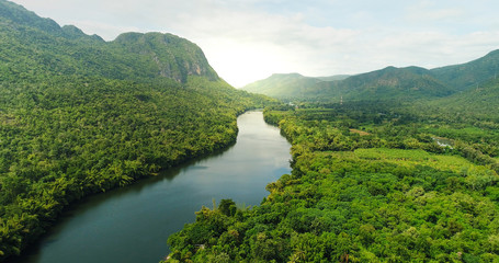 Wall Murals River Aerial view of river in tropical green forest with mountains in background