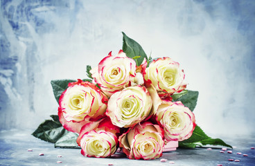 Festive bouquet of red and white roses, Valentines Day card, selective focus