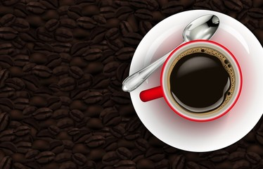 Red cup of coffee and coffee beans background