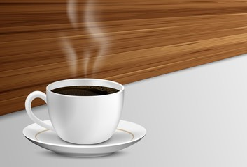 Cup of coffee with smoke on a wooden table