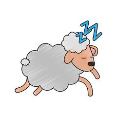 Sheep sleeping cartoon icon vector illustration graphic design