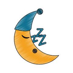 Moon sleeping cartoon icon vector illustration graphic design