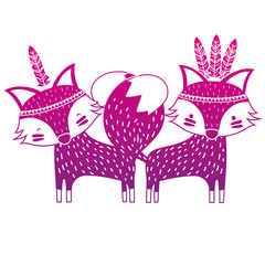 color silhouette fox animals couple together with feathers