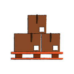 Courier with boxes icon vector illustration graphic design
