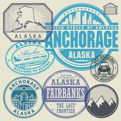 Retro vintage postage stamps Alaska, Anchorage