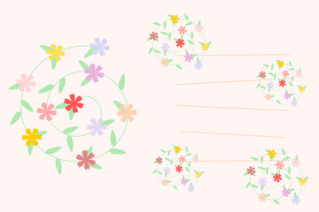 Lovely flowers message card vector on pastel tone background.  Picture with line for writing or typing your message.