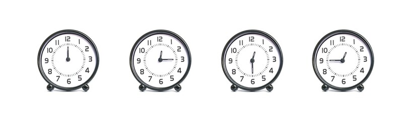 Closeup group of beautiful black and white clock for decoration show the time in 12 , 12:15 , 12:30 , 12:45 a.m. isolated on white background