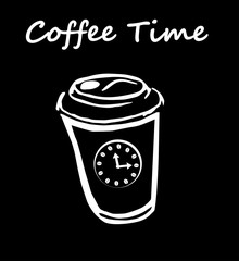 Coffee time scetch white cup with clocks on black vector illustration.