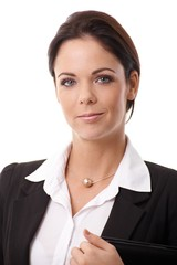 Closeup portrait of smiling businesswoman