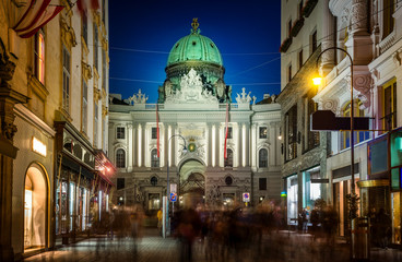 Aluminium Prints Vienna The pedestrian zone Herrengasse with a view towards imperial Hofburg palace in Vienna, Austria
