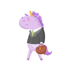Cute unicorn businessman character in a suit with briefcase, funny magical animal cartoon vector Illustration