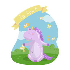 Cute unicorn character sitting on green lawn in summer day, In love vector Illustration in cartoon style, design element for poster or banner