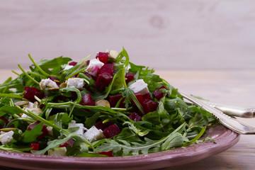 Arugula Beet Salad with Feta Cheese and Pumpkin Seeds