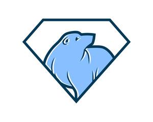 blue diamond bear fauna animal wildlife image vector icon silhouette