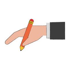Hand with pencil icon vector illustration graphic design