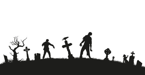 Black silhouette of zombies on cemetery background. Nightmare landscape with dead people. Panorama of undead monster and gravestone. Halloween