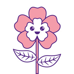 cute cartoon happy flower adorable kawaii vector illustration pink image design