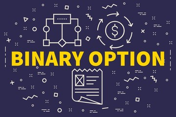 Conceptual business illustration with the words binary option