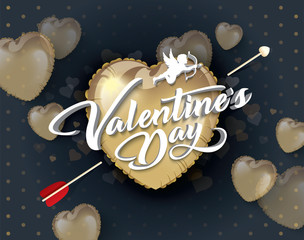 Valentines day vector background with hearts