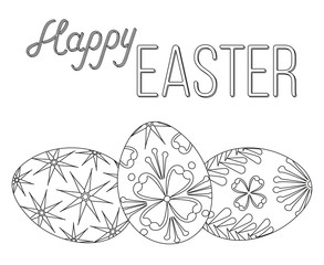 Happy easter black and white poster three egg set.