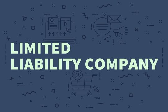 Conceptual business illustration with the words limited liability company