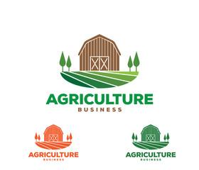 vector logo design illustration of agriculture business, tractor farm, soil farm, crop field,