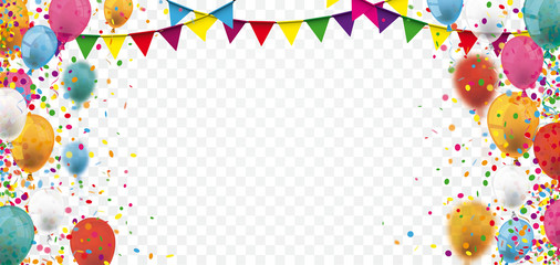 Colored Confetti Balloons Festoons Transparent Header