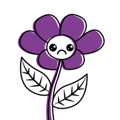kawaii cute flower ornament cartoon vector illustration